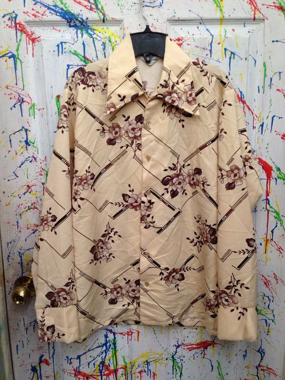 Vintage mens disco pimp nylon polyester shirt long  sleeve button down size rommy Medium earth tones flowers 1970's  RagsAGoGo