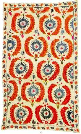 Turkish Rugs: Ottoman Textiles Notes Ottoman 17th C. Silk embroidered Curtain