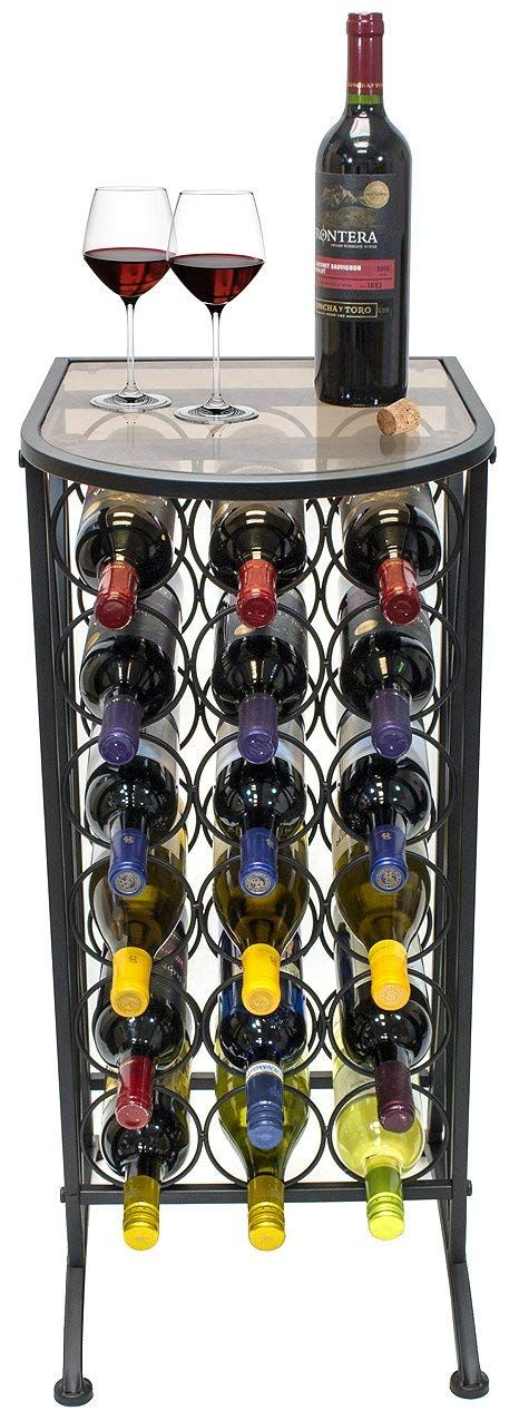 Amazon Com Sorbus Wine Rack Stand Bordeaux Chateau Style With Glass Table Top Holds 18 Bottles Of Your Favorite Wine Wine Rack Metal Wine Rack Wine Stand Metal wine racks free standing
