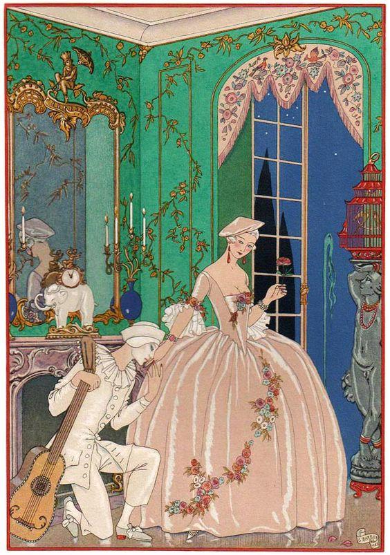 Georges Barbier (1882-1932) — 'Les Fêtes Galantes' by Paul Verlaine, 1928 (641×913):