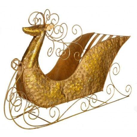 Decoración de Navidad. Trineo en metal color oro      Ancho: 18 cm     Largo: 55 cm     Alto: 36 cm
