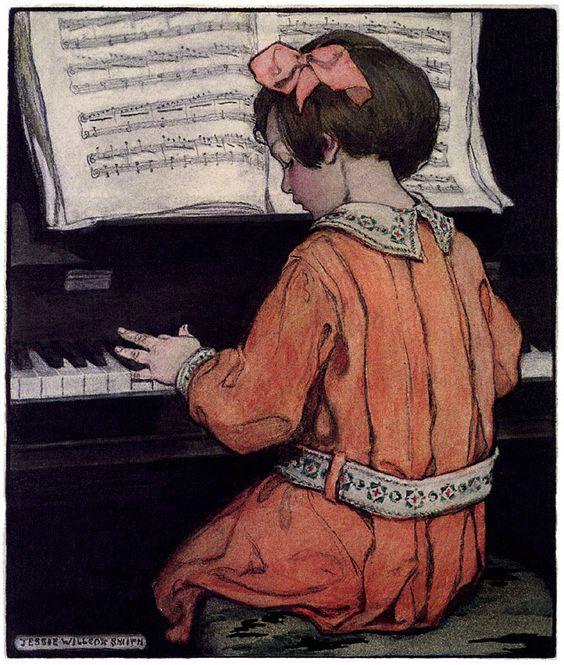 Girl Playing The Piano, Peinture de Jessie Willcox Smith