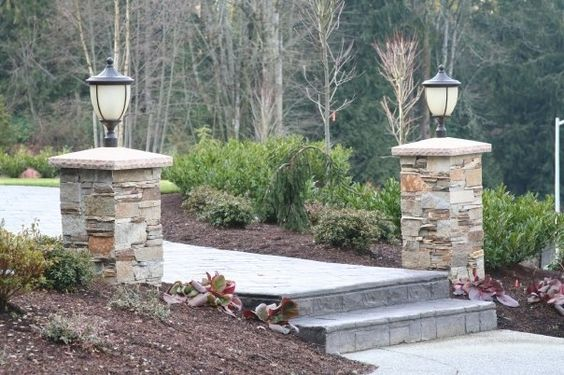 Stone Entrance Pillars : Stone pillars driveway pinterest and