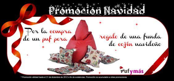 promoción navidad Pufymas. Por la compra de un puf pera regalo de una funda de cojin navideño #promocion #pym #decoracion #deco #navidad