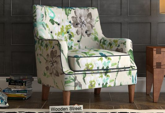 Buy Adoree Lounge Chair Aqua Flower Online In India Wooden Street Single Sofa Chair Furniture Furniture Design Wooden