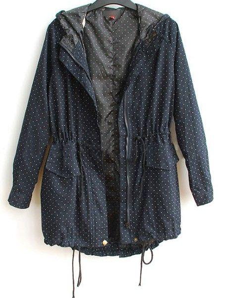 Navy Hooded Long Sleeve Polka Dot Zipper Cotton Blends Outerwear