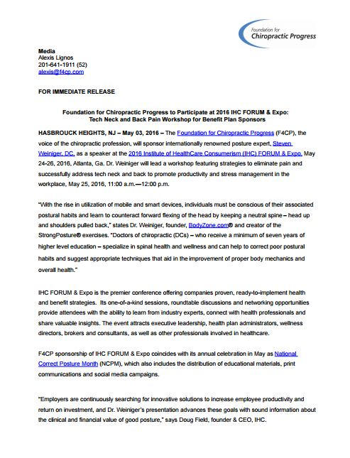 Foundation for Chiropractic Progress to Participate at 2016 IHC - financial release form