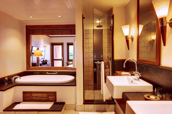 The bathroom of Heritage Awali Golf & Spa resort in Mauritius
