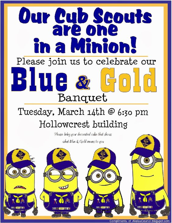 cub scout blue and gold program template - cub scout minions printable invitation from despicable