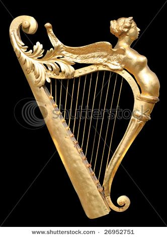 very old gold harp: