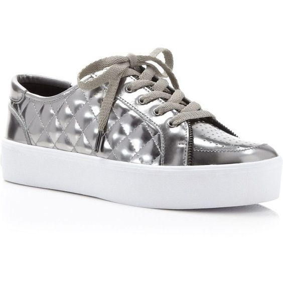 Rebecca Minkoff Metallic Quilted Platform Sneakers (3,770 MXN) ❤ liked on Polyvore featuring shoes, sneakers, gunmetal, metallic platform shoes, shiny shoes, rebecca minkoff, rebecca minkoff shoes y quilted sneakers