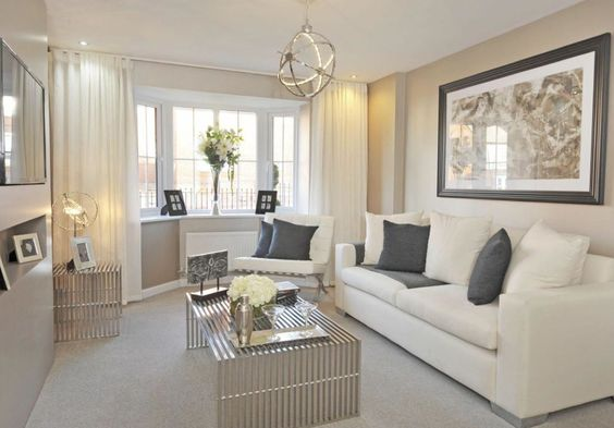 Barratt Homes - SOMERTON at Glenfield Park, Kirby Road, Glenfield, Leicester  Classic cream and slate grey living room idea