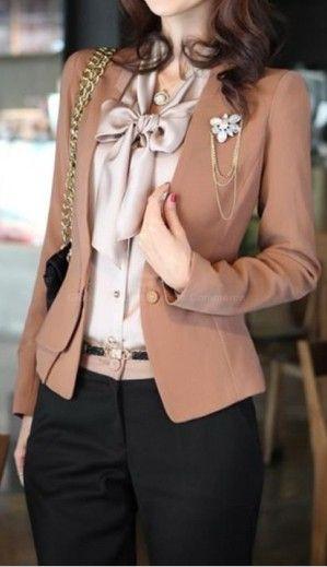 beige jacket, champagne coloured shirt:
