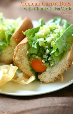 Mexican Carrot Dogs with Chunky Salsa Verde   Strength and Sunshine @RebeccaGF666 The ultimate plant-based hot dog! Mexican carrot dogs with chunky salsa verde are a fun summer bbq must! Gluten-free and vegan, this healthy meatless recipe will have your taste buds fooled and your body thanking you!