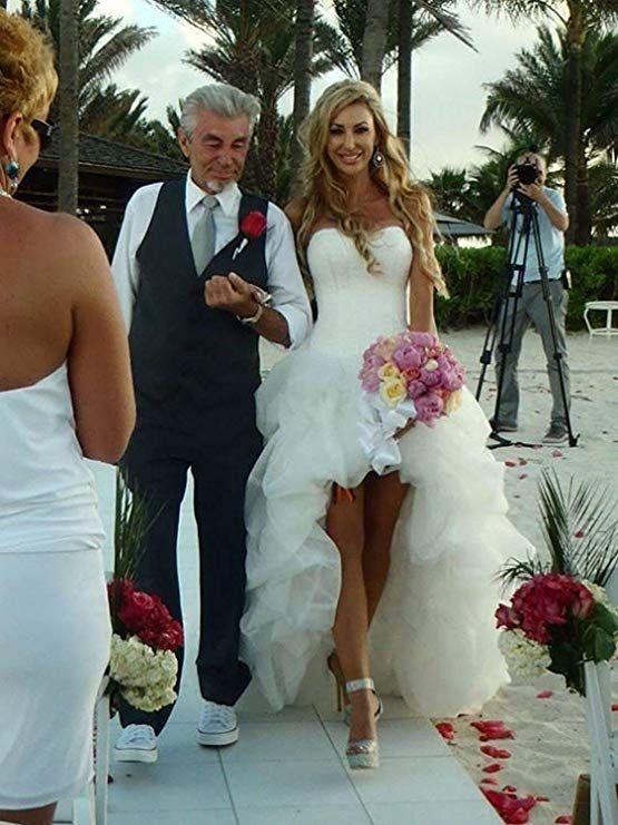 YASIOU Hochzeitskleid Elegant Damen Lang Wei/ß Elfenbein A Linie Hinten Lang Vorne Kurz Hochzeitskleider Brautkleid Gro/ße Gr/ö/ßen