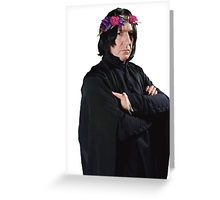 snape with flower crown Greeting Card