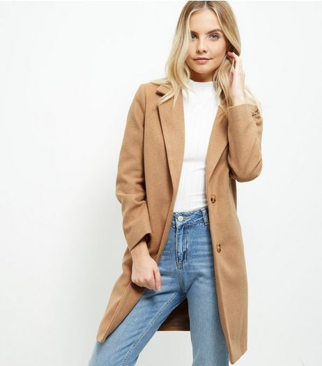 Petite Camel Longline Coat | New Look | WISHLIST | Pinterest