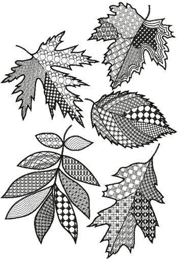 Halloween zentangle patterns patchwork leaf set now