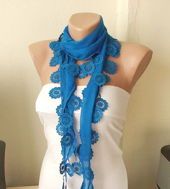 MOTHER'S DAY 25 SALERoyal Blue  Cotton Spring Scarf with by Periay, $11.25