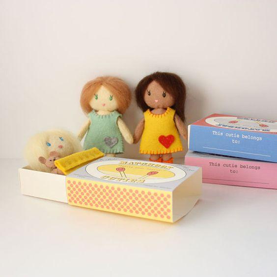 Little Matchbox Cuties Felt Dolls PDF Digital Pattern by RobinMiyo, $9.00