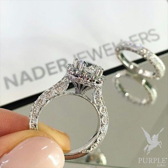 Engagement ring have been a tradition since time immemorial. With this engagement ring by @naderjewellers who could say no? Handcrafted and full of diamonds it'll be every girls dream! #purplebyanki #diamonds #luxury #loveit #jewelry #jewelrygram #jewelrydesigner #love #jewelrydesign #finejewelry #luxurylifestyle #instagood #follow #instadaily #lovely #me #beautiful #loveofmylife #dubai #dubaifashion #dubailife #mydubai #Ring #NaderJewels