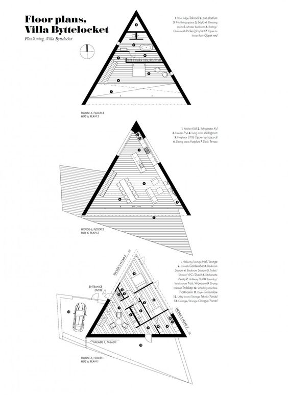 Klevens udde home with triangle shaped floor plan sweden for Triangular house floor plans