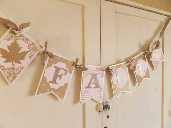 Shabby Chic FALL Banner  Home Decor  Neutral by WhateversHandmades