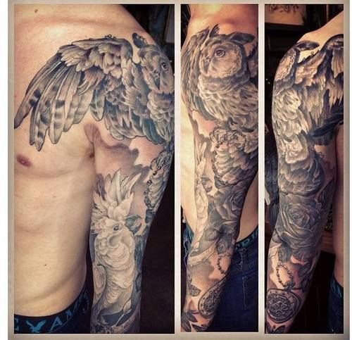 Love how the wing comes over the shoulder plus nice owl for Gilded heart tattoo