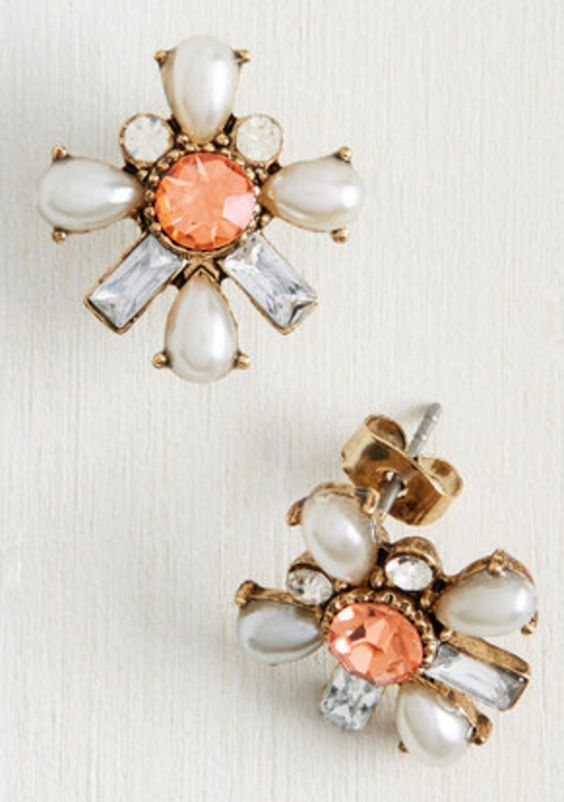 Peach and Pearl Stud Earrings