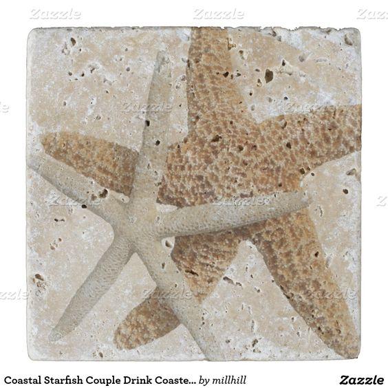 Coastal Starfish Couple Drink Coaster, Stone Stone Coaster