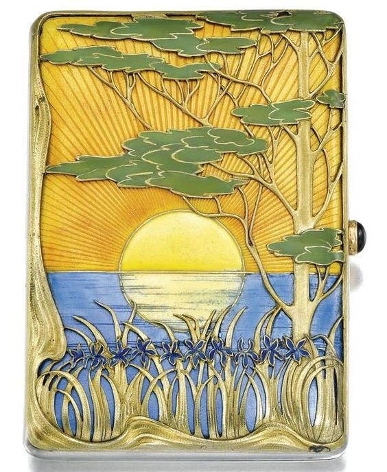 A Fabergé silver and enamel cigarette case, Moscow, 1899-1908
