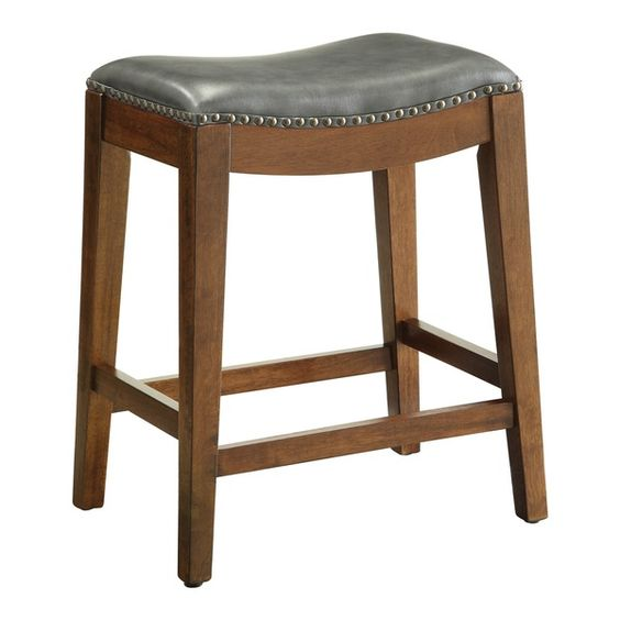 Metro 24-inch Saddle Stool with Nail Head Accents
