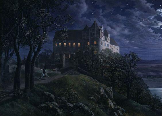 Ernst Ferdinand Oehme, Scharfenberg Castle by Night (Burg Scharfenberg bei Nacht)