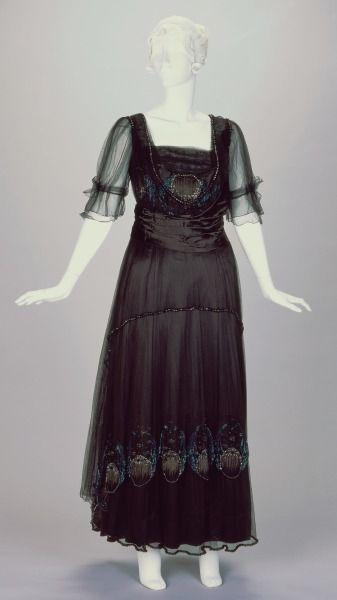 1916-1918, America - Evening Dress by Josephine M. Kasselman - Silk, cotton, beads:
