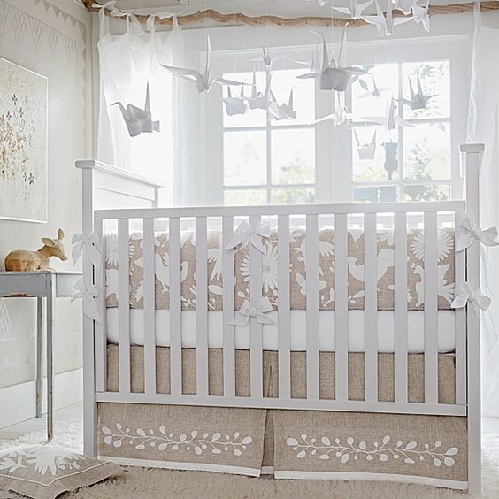 Origami mobile, natural birch wood curtain rod, cream linen with white. Hands down favorite nursery room I've ever seen.
