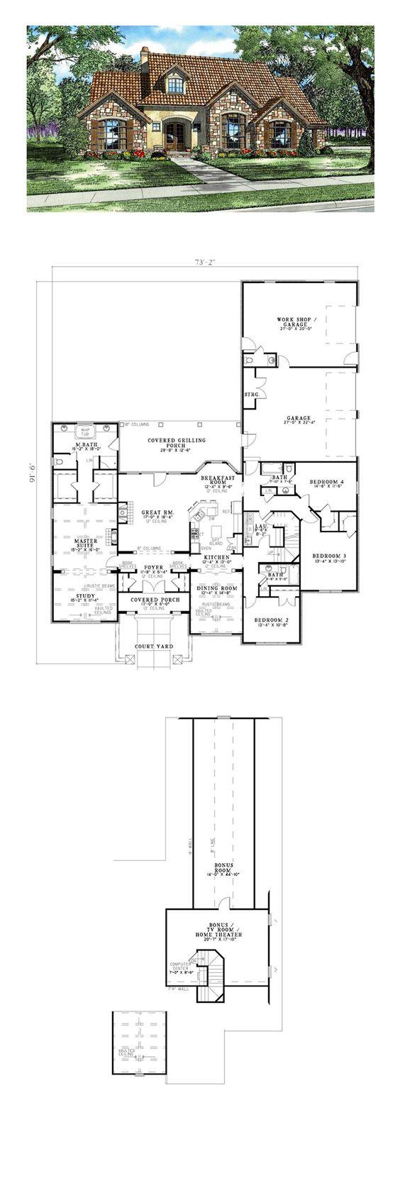 Italian Mediterranean uscan House Plan 82118 Hauspläne ... size: 564 x 1664 post ID: 2 File size: 0 B