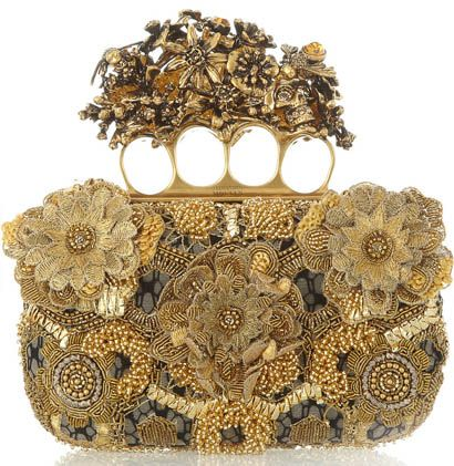 Alexander McQueen Knuckle Embroidered Satin and Tulle Box Clutch. I love it!