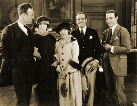 The Silent Era  Director Sam Wood,author Elinor Glyn, Mary Pickford and Her husband Douglas Fairbanks and Rudolph Valentino