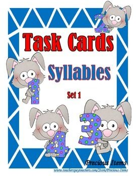 Students will complete the task cards on syllables.  The task cards can be used to review syllables.  Place the cards in your literacy stations so students can work on them individually.  There are 52 cards plus a cover card and a direction card.  Some of the words are:  apple, doll, alligator, flower, television, box, butterfly, chipmunk, umbrella, clown, newspaper, garden, shark, penguin, zebra, and penguin.