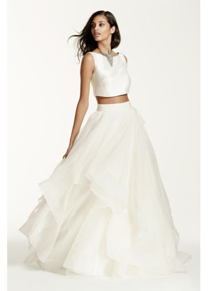 Two-Piece Mikado Crop Top Ball Gown  SWG687