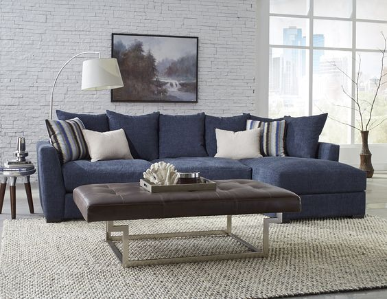 Transitional Living Room With Coastal Vibe And Blue: Sofas, Navy And Brown On Pinterest