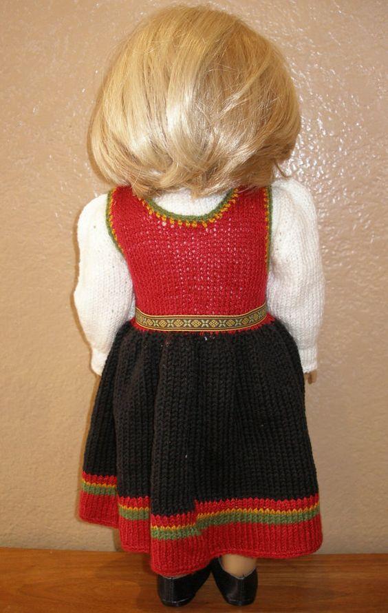 Norwegian Aust-Agder Bunad Dolls Knitting von knittingfordolls