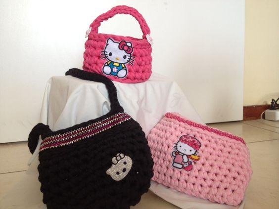 Kids basket handbags Crochet tshirt yarn trapillo zpagetthi handcrafted made in cape town Rangan Originals Hello Kitty