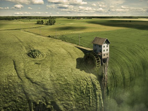 Impossible Photography Erik Johansson Water Cracked - Photographer smashes 17 square meters of mirror to create this amazing illusion