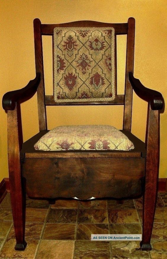 Antique c 1860 wood mahogany adult commode potty arm chair and chamber pot chairs and - Commode vintage ninedesign ...