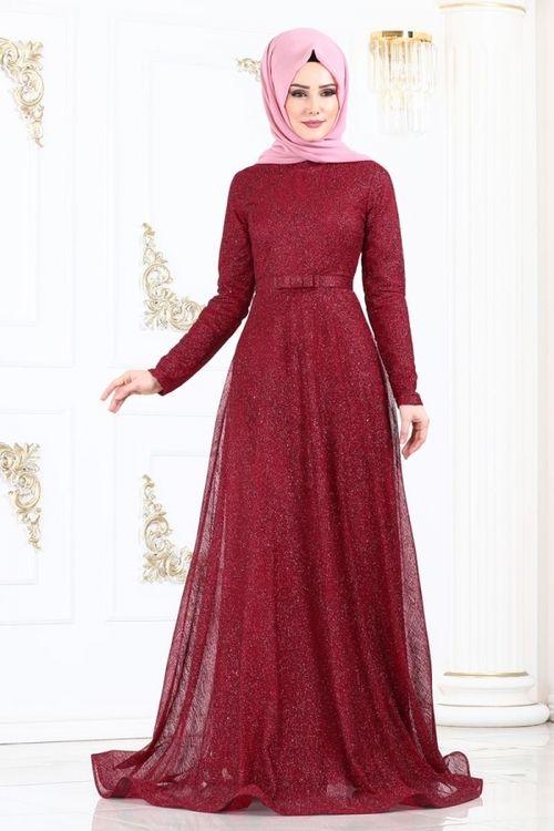 Modaselvim Abiye Fiyonk Kemerli Simli Abiye 615l263 Bordo Pakistani Fashion Fashion Red Frock