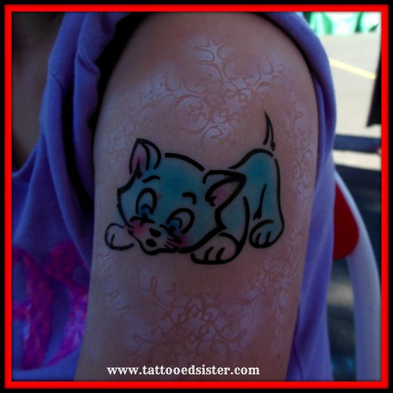 Gorgeous Blue Kitten airbrush tattoo with added lace work. www.tattooedsister.com