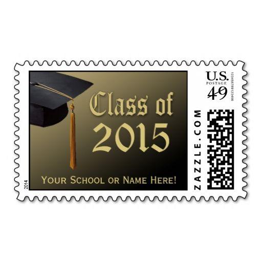 Custom 2015 Graduation Postage, Black and Gold Cap