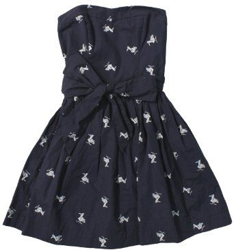 Amazon.com: Hollister Women's Lobster Point Strapless Seagull Print Dress (Navy Blue Seagull): Clothing $60