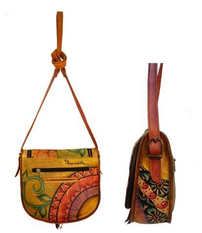 Handbemalte Leder Tasche 507 PWG - Anuschka